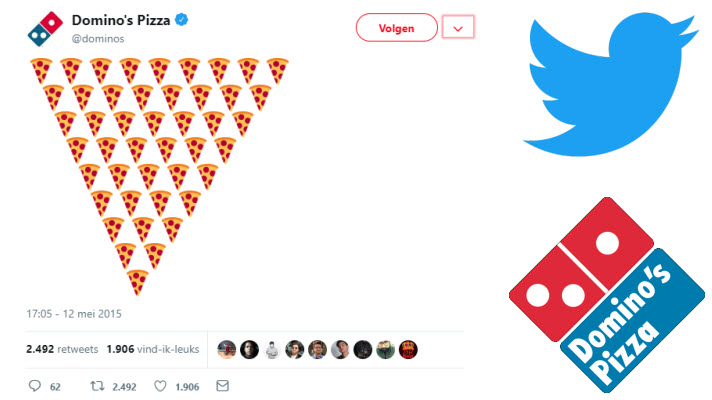 Bij Domino's bestel je een pizza door een 🍕 te versturen