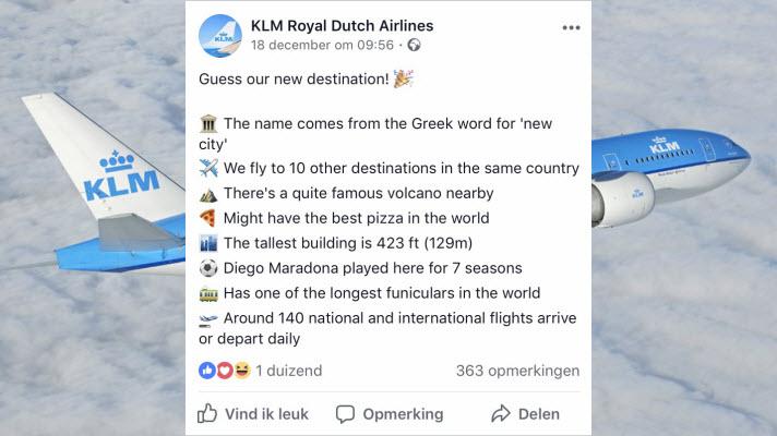 KLM maakt een nieuwe bestemming op een leuke manier bekend ✈